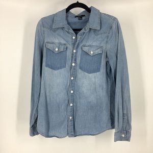 ✨forever 21 denim jean button up shirt chambray md